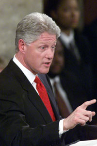 Photograph: President Clinton delivering the State of the Union Address.