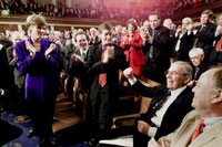 Photograph: Members of Congress and guests applaud Lloyd Bentsen during the President's Address.