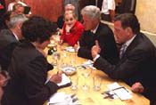 Secretary Albright and President Clinton dine out in Berlin with Chancellor Schroeder.