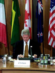 At the German Chancellery in Berlin, President Clinton reviews his notes before the opening session of the Progressive Governance Conference.