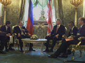 President Clinton and President Putin have a bilateral meeting in St. Catherine's Hall, The Kremlin.