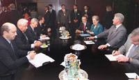 President Clinton and Secretary Albright meet with Russian President Boris Yeltsin and members of his delegation at Cologne's Renaissance Hotel.