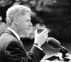 Photo: President Clinton Drinking Water