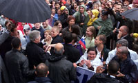 After his speech to thousands in Ljubljana's Congress Square, President Clinton shakes hands with the welcoming crowd.