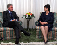 President Clinton meets with President Ruth Dreifuss of Switzerland.