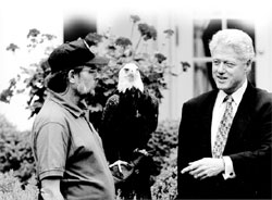 Photo: President Clinton with Bald Eagle