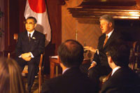 On the first day of the 1999 G8 Summit in Cologne, Germany, the President meets with Prime Minister Keizo Obuchi of Japan.