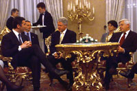 President Clinton meets with the President of Montenegro following a dinner hosted by President Kucan at Brdo Castle, Slovenia.