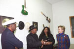 (L - R) Chuck Berry, Bo Diddley and Shirli Dixon-Nelson speak with the First Lady at the Chess Records Office and Studio.