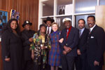 (L-R) Shirli Dixon-Nelson, Bo Diddley, Koko Taylor, Lonnie Brooks, the First Lady, Chuck Berry, Billy Branch, Jesse Dixon.