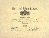 PHOTO: A copy of his diploma from Little Rock Central High School