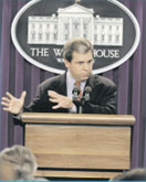 President Clinton's Press Secretary, Joe Lockhart, briefs the White House Press Corps.