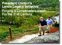 President Clinton and Vice President Gore hike the Appalachian Trail in April, 1998