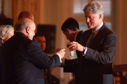 Turkish President Demirel and President Clinton offer toasts at a luncheon of the American-Turkish Business Council.