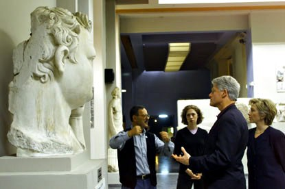 The Clintons tour the Ephesus museum, considered to be one of the best archaeological museums in Turkey.
