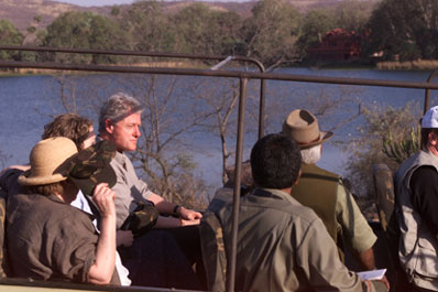 The President tours Ranthambhore National park.