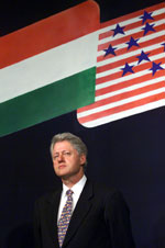 President Clinton today at the Mumbai Stock Exchange.