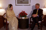 President Clinton pays a courtesy call on Bangladesh national party opposition leader Khaleda Zia.  Pan-Pacific Sonargon Hotel, Bangladesh.