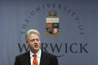 President Clinton concludes his three day trip to Ireland and the United Kingdom by delivering a foreign policy speech to the students and community of Warwick University in Warwick, England.
