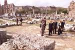 First Lady Hillary Rodham Clinton tours the ancient city of Perge in Turkey.