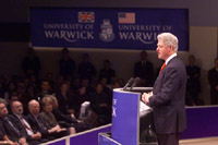 President Clinton addresses the audience at Warwick University.