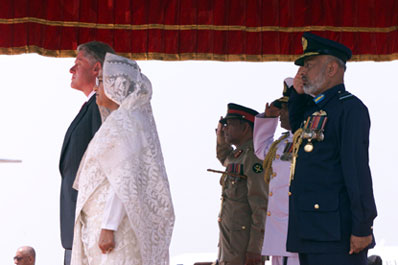 President Clinton and Prime Minister Sheikh Hasina at the official arrival ceremony at Zia International Airport, Bangladesh.