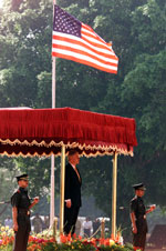 President Clinton at the official arrival ceremony, Rashtrapati Bhavan, New Delhi.