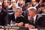 Marc Forne Molne, President of the Principality of Andorra, confers with President Clinton during the signing of the OSCE charter.