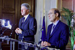 President Clinton and Greece's Prime Minister Simitis hold a joint press conference in the Central Hall of the Prime Minister's office.