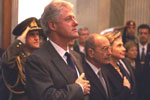 The departure ceremony for the Clintons at the Presidential Palace in Athens.