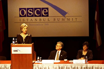 The First Lady delivers a speech at the OSCE Summit in Istanbul on combating the trafficking of humans, particularly women and children.