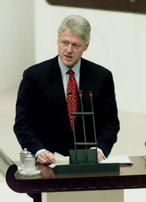 President Clinton speaking to the Turkish Parliament in Ankara.