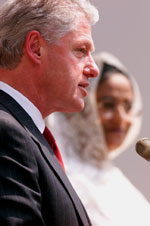 President Clinton and Prime Minister  Sheikh Hasina make a joint statement to the press outside the Prime Minister's office, Bangladesh.