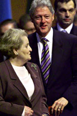 President Clinton and Secretary of State Madeleine Albright depart the Summit.