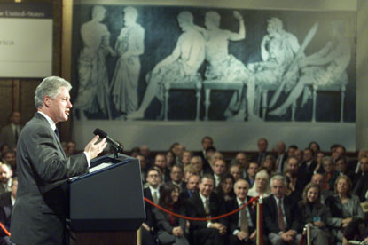 President Clinton delivers a speech to the Greek community at the Intercontinental Hotel in Athens.