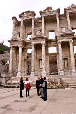 The First Family in front of the Celsus Library at Ephesus, built in A.D. 135.