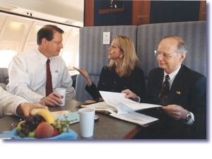 Vice President Gore, Sandra Thurman, and Secretary of Education Riley aboard Air Force 2