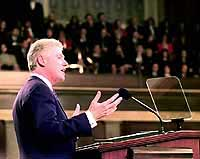 Photograph: President Clinton delivering the State of the Union Address
