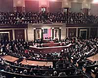 Photograph: An overview of the House Chamber during the President's Address